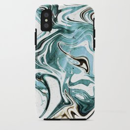 Liquid Teal Marble iPhone Case