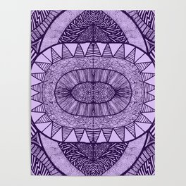 Grape Tangled Mania Pattern Doodle Design Poster