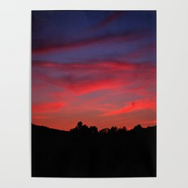 Red sunset - Poland - Landscape and Rural Art Photography Poster