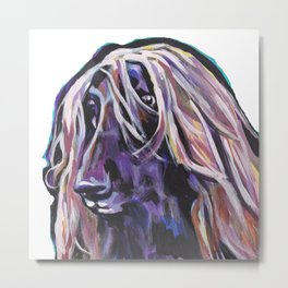 Fun Afghan Hound Dog Portrait bright colorful Pop Art by LEA Metal Print