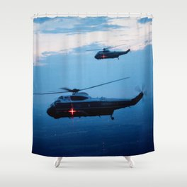 Support Helicopters Fly at Dusk Shower Curtain