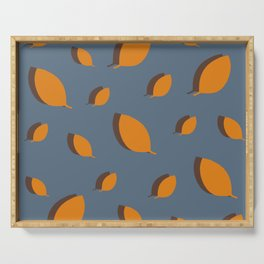 Fall pattern mustard brown leaves on blue Serving Tray