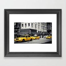 Yellow Cabs | B/W Framed Art Print