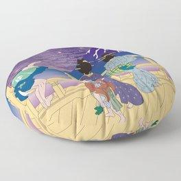 Hokusai People Seeing Mt. Fuji under the Stars Floor Pillow