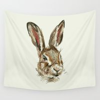 hare Wall Tapestries featuring Hare by Hannah Isabelle Lewis