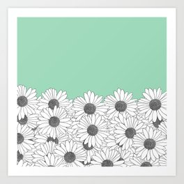 Daisy Boarder Mint Art Print