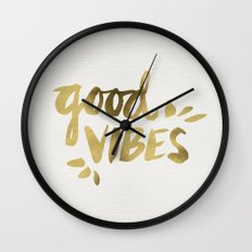 Good Vibes – Gold Ink Wall Clock