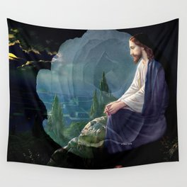 Jesus Christ On Mount Olive With White Rose By Annie Zeno Wall Tapestry