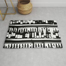 Wine Bottles in Black And White #decor #society6 #buyart Rug