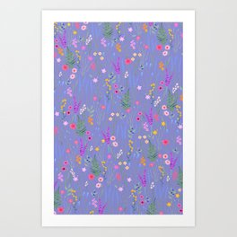 blue meadows colorful floral pattern Art Print