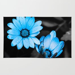 Aqua blue flowers Rug