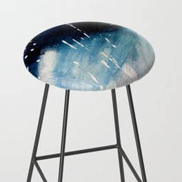 Meteor Shower - an abstract acrylic piece in blue and white Bar Stool
