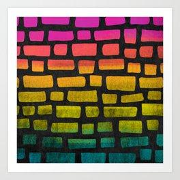 Rainbow Ombre Brick Art Print