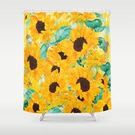 watercolor sunflower pattern 2019 Shower Curtain