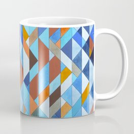 Triangle Pattern no.18 blue and orange Coffee Mug