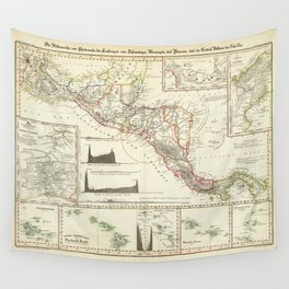 Vintage Map of Central America (1840) Wall Tapestry