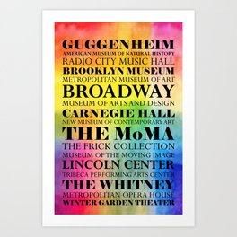 New York Arts - black text on color Art Print