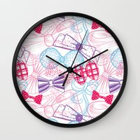 bows Wall Clocks featuring Bows by Wendy Ding: Illustration