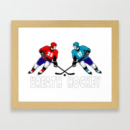 Fighting hockey players Framed Art Print