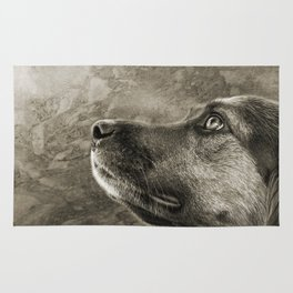 Black and White Loyal Dog Rug