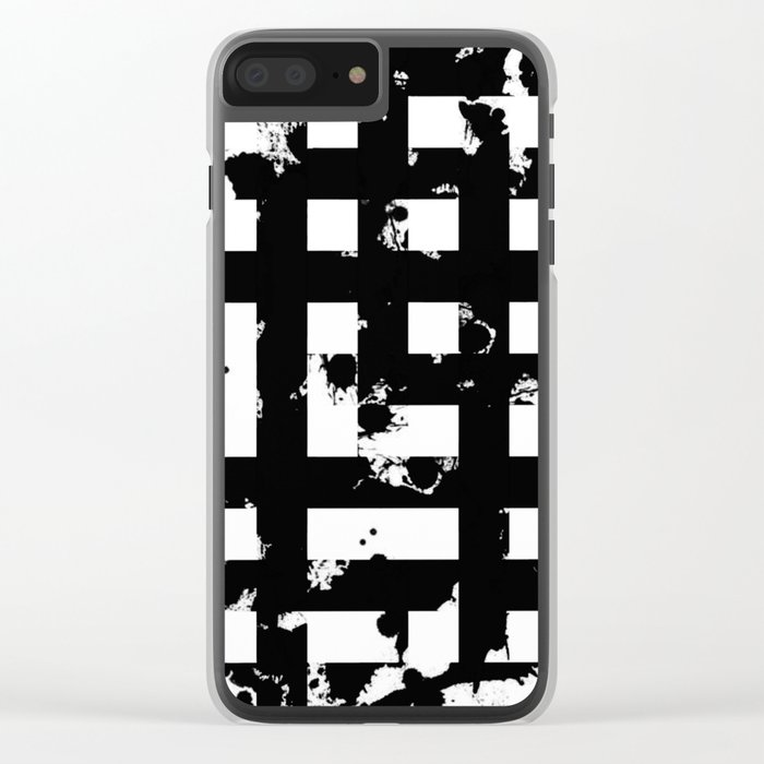 Splatter Hatch - Black and white, abstract hatched pattern Clear iPhone Case