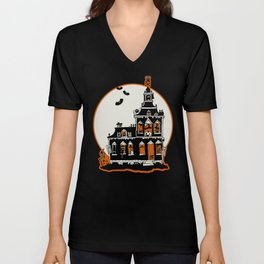 Vintage Style Haunted House - Happy Halloween Unisex V-Neck