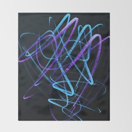 Sky Blue and Bold Violet Wavy Lines Throw Blanket