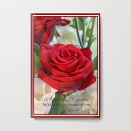 Whispers of Passion and Love Red Rose Greeting Metal Print
