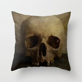 Male skull in retro style Throw Pillow