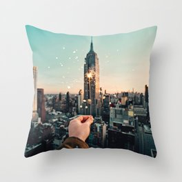 Sparks on New York Throw Pillow