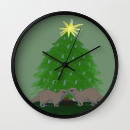 River Otter's Christmas  Wall Clock