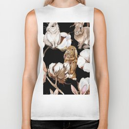 Cotton Flower & Rabbit Pattern on Black 01 Biker Tank