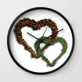 natural hearts Wall Clock