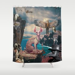 Birds with Cat Shower Curtain