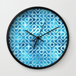 Blue Frosted Stained Glass Geometric Pattern Wall Clock