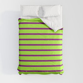 Light Green & Dark Magenta Striped/Lined Pattern Comforters