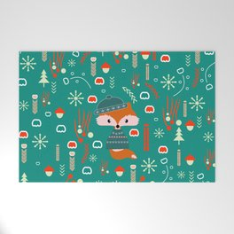 Cute fox waiting for Christmas Welcome Mat