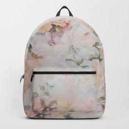 Vintage romantic blush pink ivory elegant rose floral Backpack