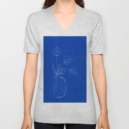 Flowers Abstract Doodles Drawing  Unisex V-Neck