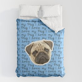 I Love My Pug Monogram Comforters