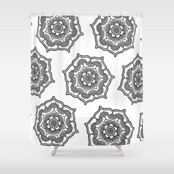 Henna Mandala Lotus Flowers Shower Curtain