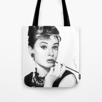 hepburn Tote Bags featuring Audrey Hepburn Pencil drawing by Thubakabra