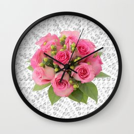 Pink Rose Silver Mandala Wall Clock