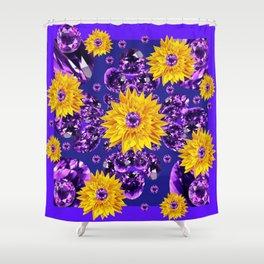 Glittering Amethyst Gems Jeweled Sunflower Rain Shower Curtain