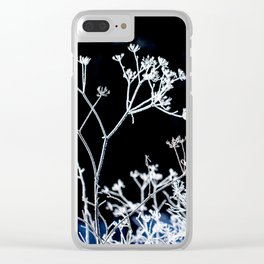 Frosted plant at cold winter day on black background Clear iPhone Case