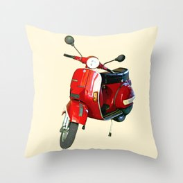 Vespa in Red Throw Pillow