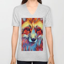Fox Watercolor 2 Unisex V-Neck
