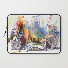 Chicago Bean Cityscape Watercolor Painting Laptop Sleeve