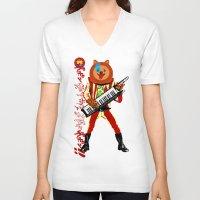 pomeranian V-neck T-shirts featuring Pomeranian Rock Dogs - Aladdin Canine by Butcher Billy
