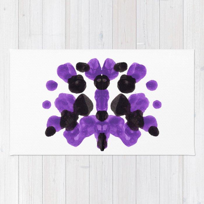 Purple And Black Inkblot Diagram Rug